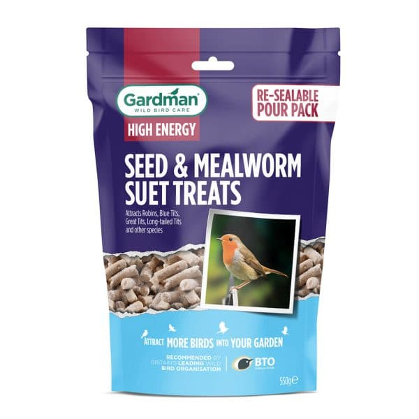 High Energy Seed and Mealworm Suet Treats for Wild Birds